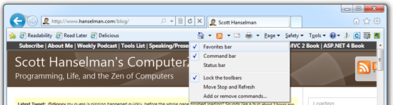 The Command Bar and Bookmark Bar shown