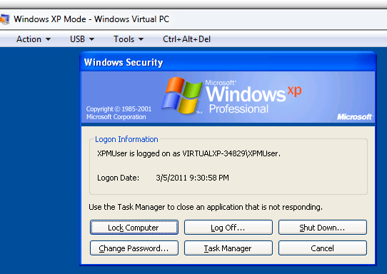 Shutting down Windows XP Mode