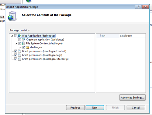 Description: Deploying DasBlog from IIS using WebDeploy