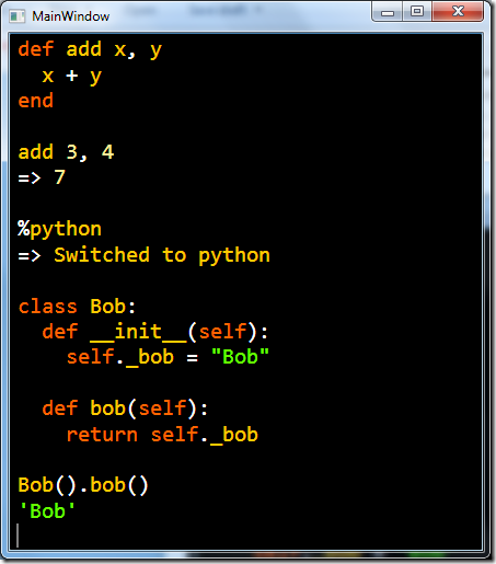 Screenshot of John Lam's REPL/editor