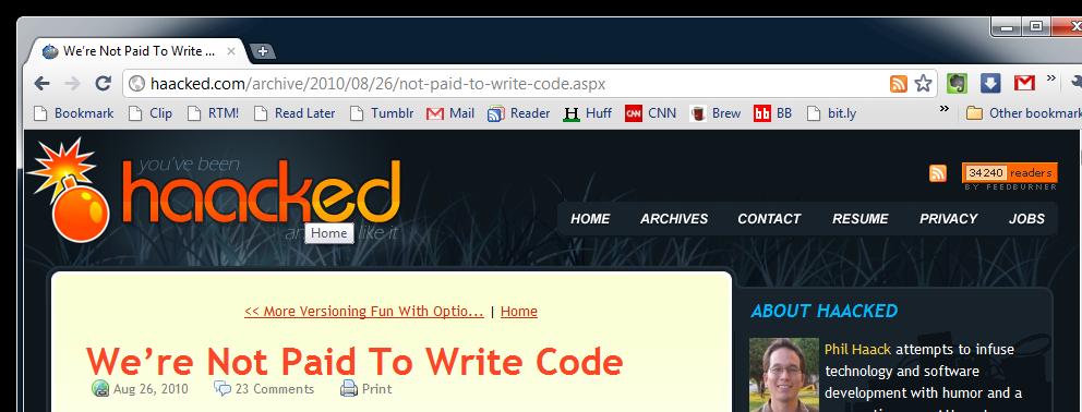 Description: We're Not Paid To Write Code - Google Chrome