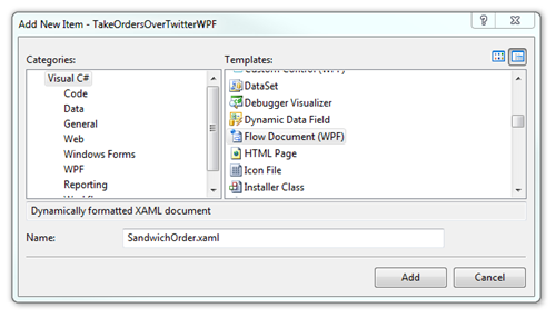 Add New Item - TakeOrdersOverTwitterWPF