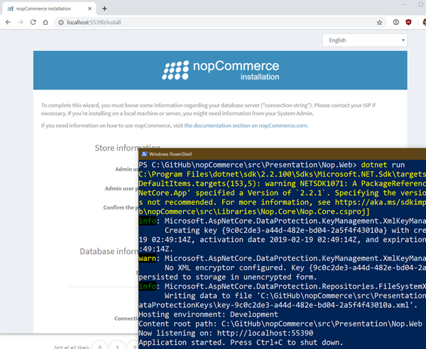 nopCommerce is easy to setup