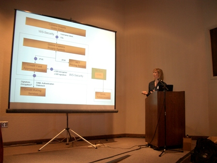 A picture of Michele presenting on Web Services