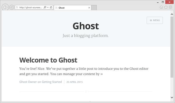 Ghost running on Azure