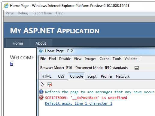 Bug and Fix: ASP NET fails to detect IE10 causing _doPostBack is
