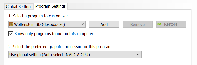 You can control which GPU on a program by program basis