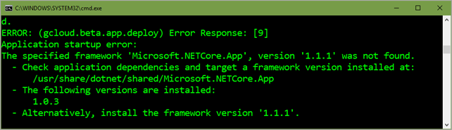 .NET Core Runtime 1.0.3 supported