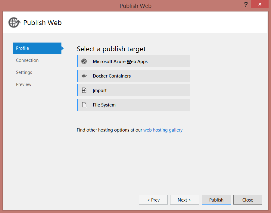 Publishing to Docker from Visual Studio