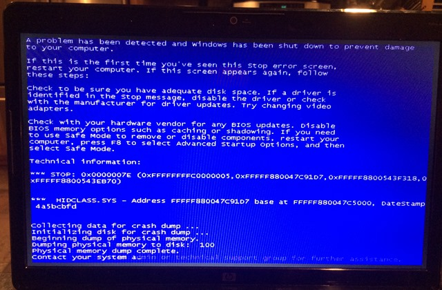 FIXED: Blue Screen of Death (BSOD) 7E in HIDCLASS SYS while