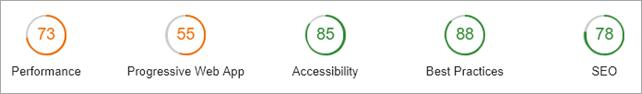 Performance 73, PWA 55, Accessbiolity 85, Best Practices 88, SEO 78