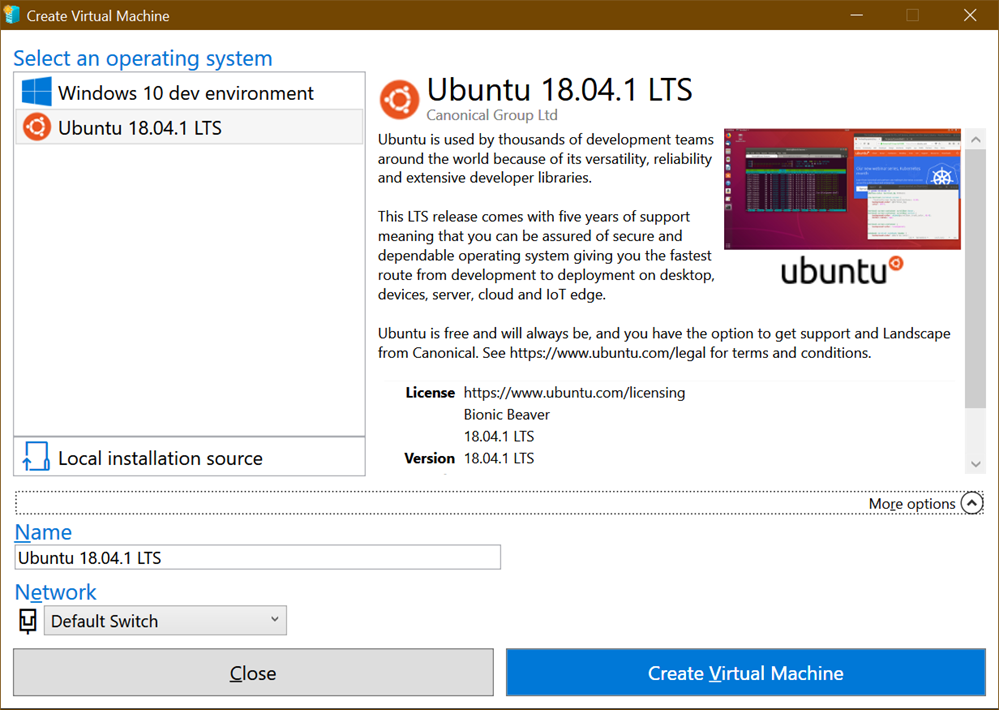 Using Enhanced Mode Ubuntu 18 04 for Hyper-V on Windows 10