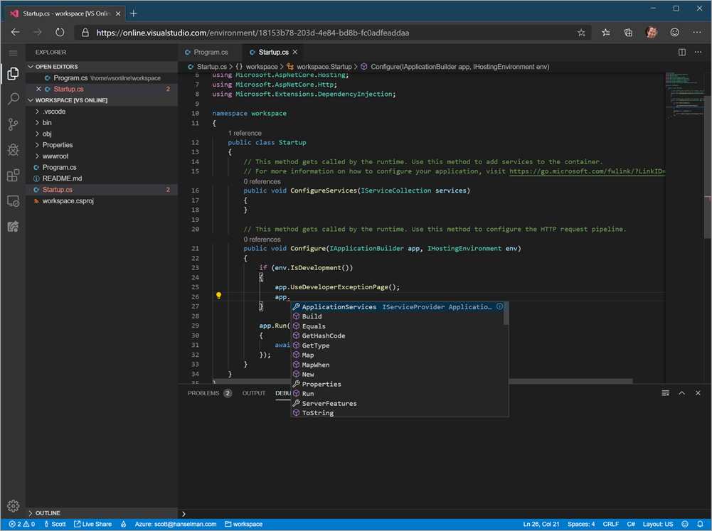 I'm in VS Code but it's not, it's VS Online in a browser
