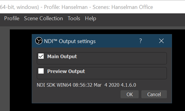NDI Output Settings in OBS