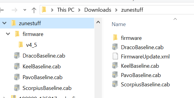 A file heirarchy under zunestuff