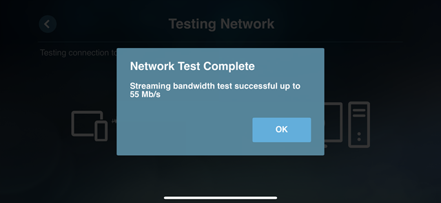 Steaming bandwidth test successful up to 55 Mb/s