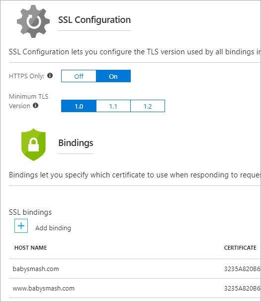 HTTPS Only in the Azure Portal