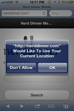 NerdDinner with jQuery Mobile on an iPhone asking for my location