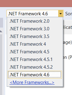 The full range of .NET 2.0 through 4.6 in Visual Studio 2015