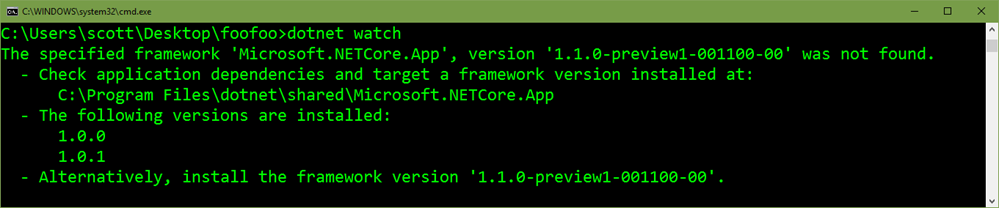 "dotnet watch says ""specified framework not found"""