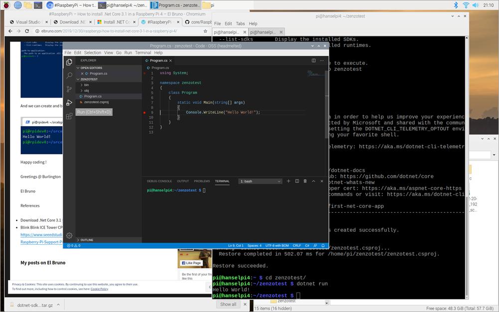 Visual Studio Code on a Raspberry Pi 4
