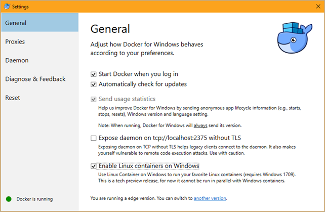 Docker and Linux Containers on Windows, with or without