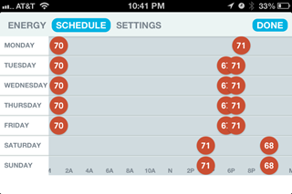 Screenshot of the Nest App showing Schedule
