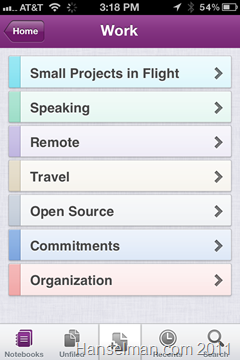 Microsoft OneNote on IOS - List of Notes