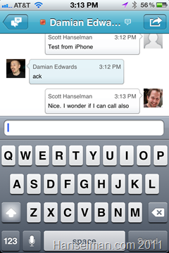 The Microsoft Lync iPhone Application - Chats