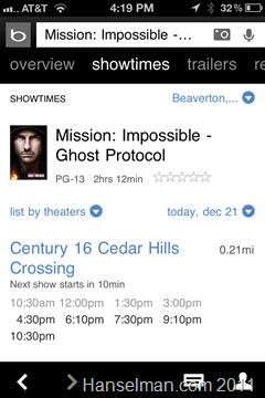 Bing iOS Application - Movies