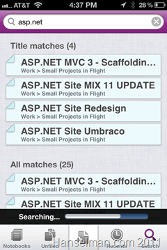 Microsoft OneNote on IOS - Searching