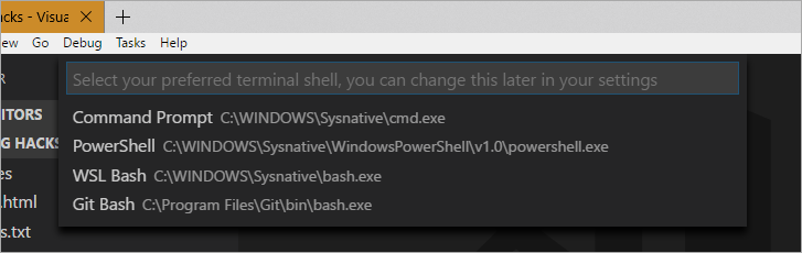 Select Default Shell in Visual Studio Code