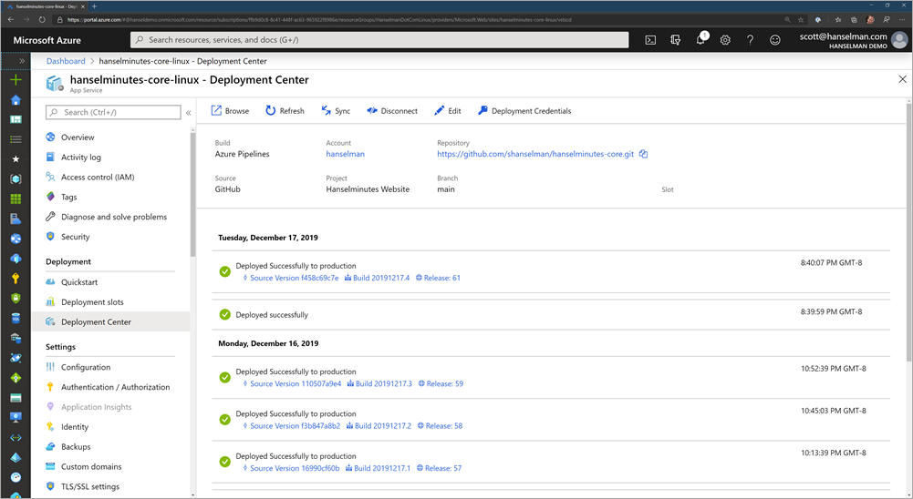 Azure Portal and DevOps integration