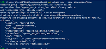 az webapp new - Azure CLI extension to create and deploy a