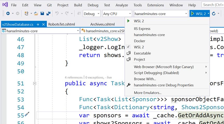 WSL 2 in the Visual Studio Debugging Menu