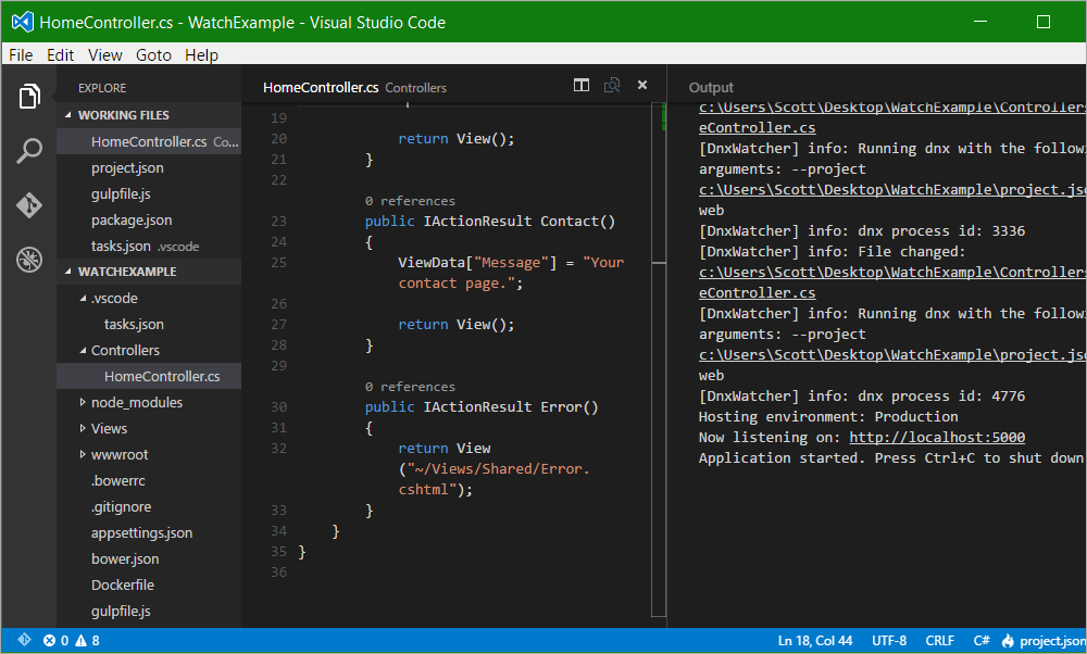 Integrating Visual Studio Code with dnx-watch to develop ASP