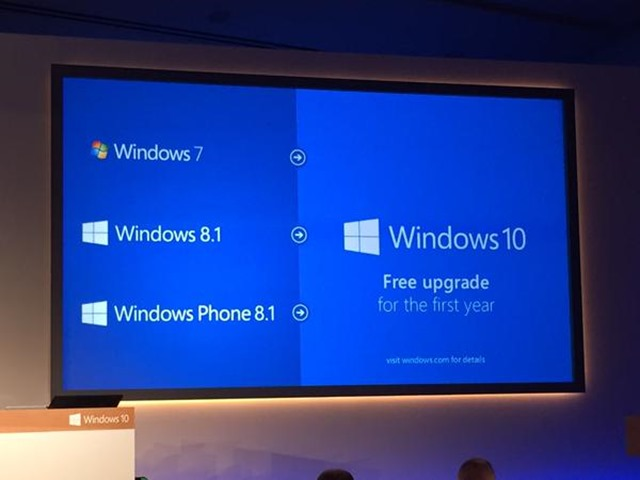 Windows 10 upgrade will be free