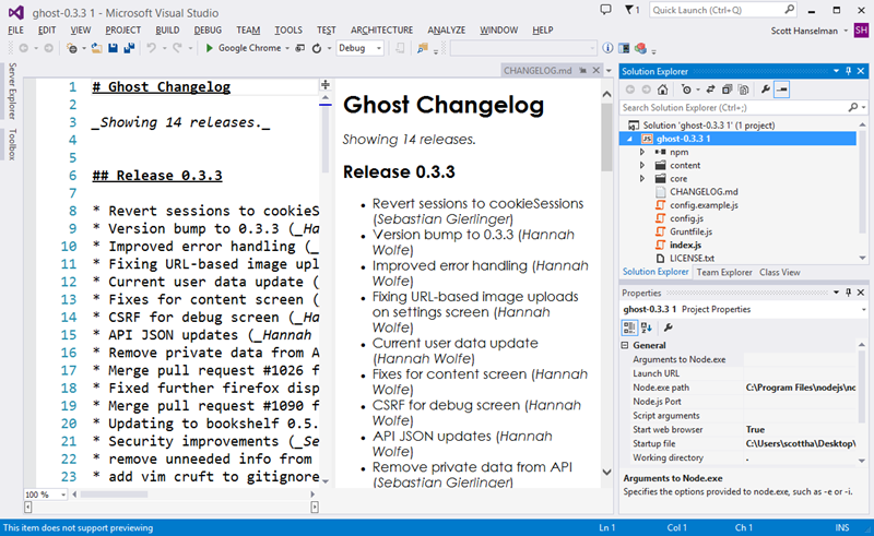 Ghost inside Visual Studio with NTVS
