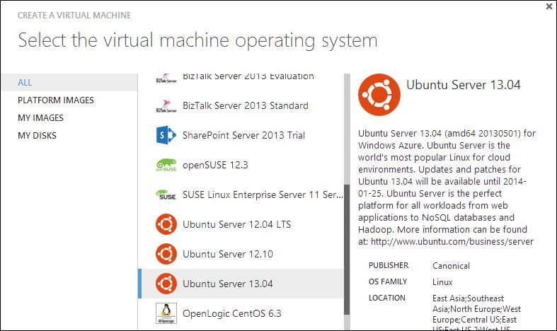 Selecting Ubuntu from the Azure Gallery