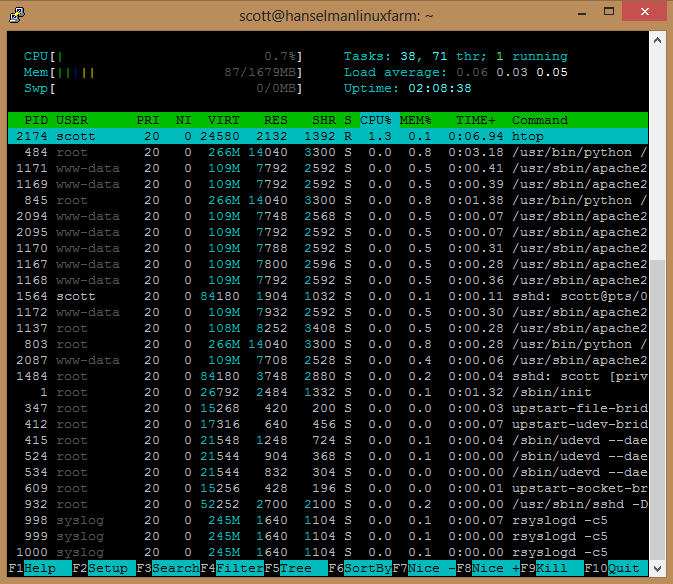 SSH'ed into a Linux machine on Azure looking at CPU time with HTOP