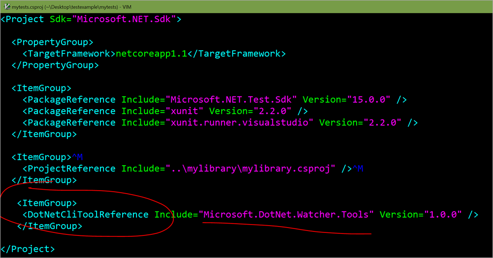 "Adding <DotNetCliToolReference Include=""Microsoft.DotNet.Watcher.Tools"" Version=""1.0.0"" />"
