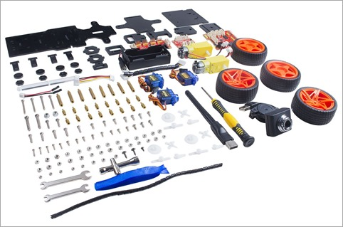 The SunFounder Raspberry Pi Car kit comes wtih everything you need except the 18650 batteries. You'll need to get those elsewhere.