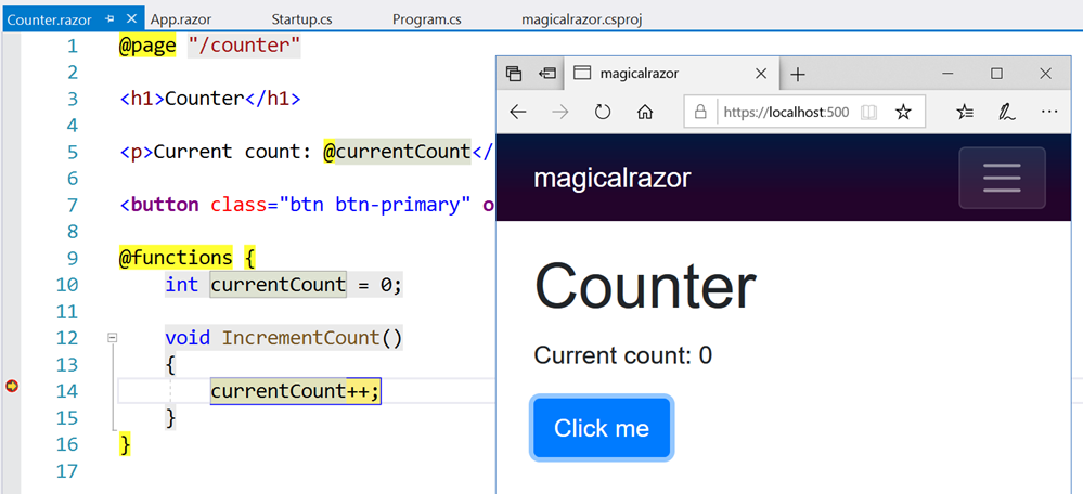 Debugging Razor Components on the Server Side