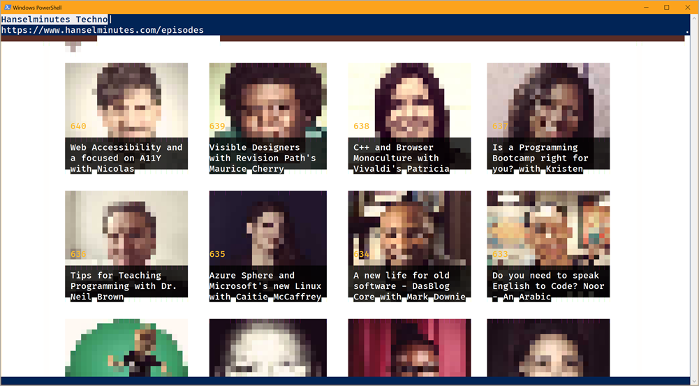 Tiny pixelated heads made with ASCII