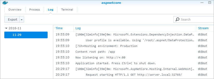 ASP.NET Core on Docker on Synology