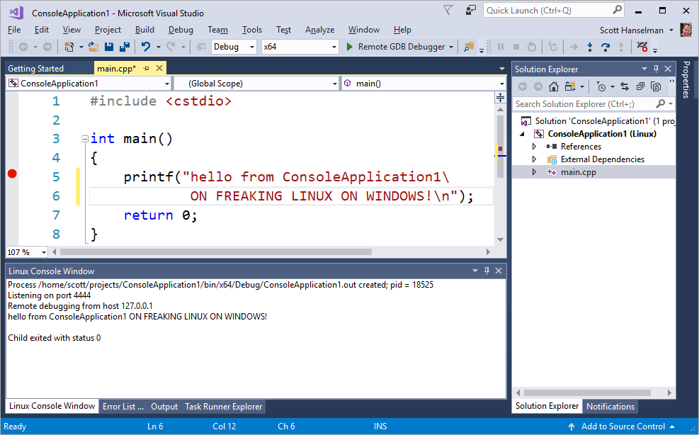I'm writing C++ in Visual Studio on Windows talking to the local Linux Subsystem