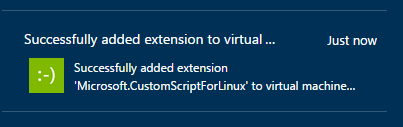Successfully added a VM Extension