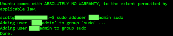 Adding user to group sudo