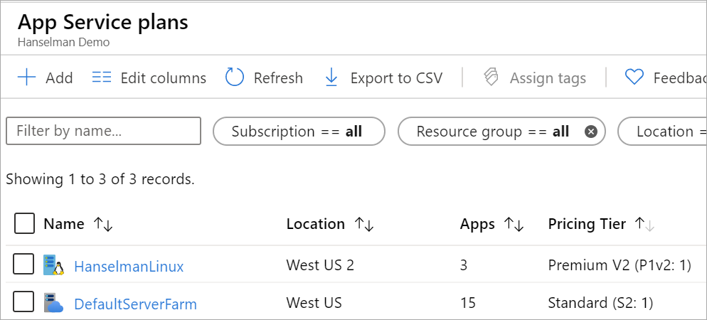 Azure Plan with 3 apps on Linux