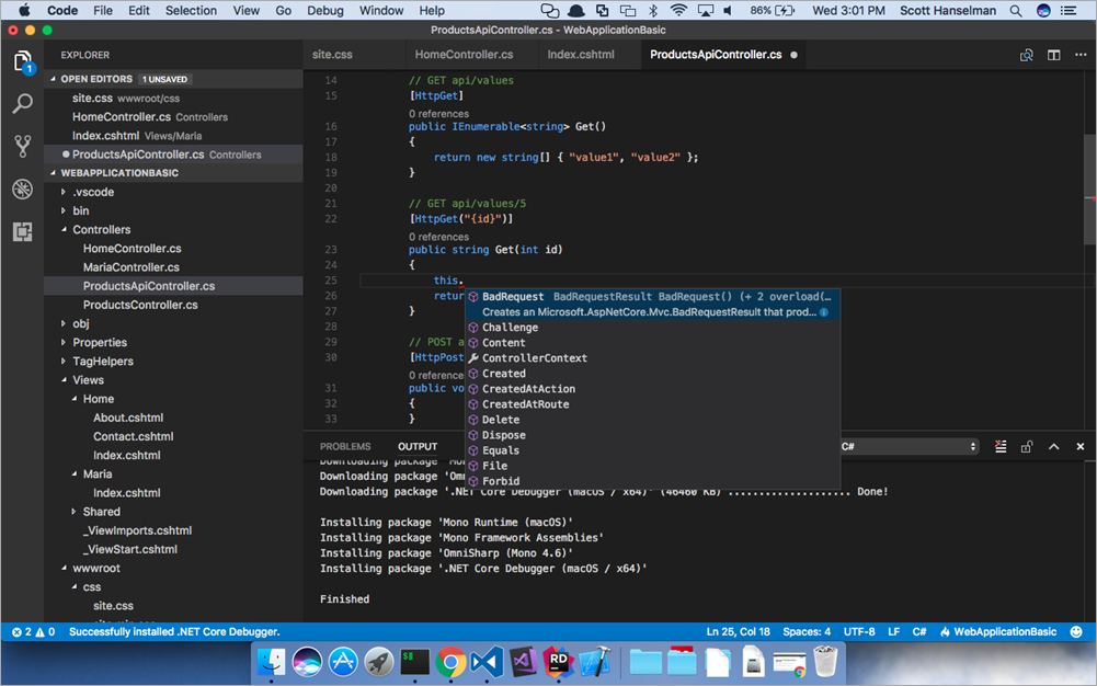Choice amongst cross-platform .NET IDEs - VS Code, Visual Studio for Mac, JetBrains Rider